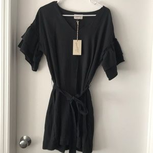 NWT ruffle shelve gray dress!